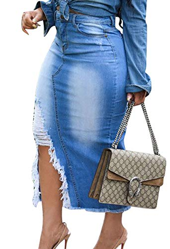 Voghtic Casual Blue Distressed Ripped Denim Jean Midi Bodycon Skirt Plus Size Pocketed