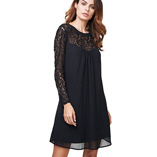 vanberfia Women's Long Sleeve Lace Patchwork Loose Casual Mini Chiffon Dress (L, 6556)