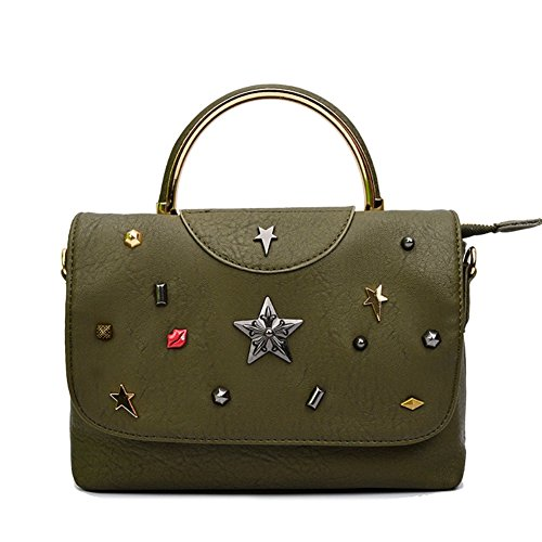 Fczero Hb10113 Cartoon Handbag For Women Medal & Retro Pu Leather Small Square Package - 2016 Olive