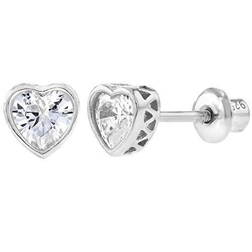 925 Sterling Silver Clear CZ Small Heart Screw Back Earrings Baby Girl Kids