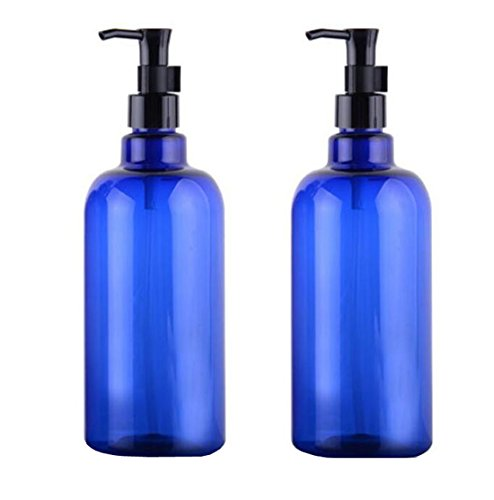 1.7 Ounce Emulsion (2PCS 500ml 17oz Blue Plastic Refillable Empty Lotion Emulsion Cream Pump Bottle Shampoo Body Wash Container For Family Use)