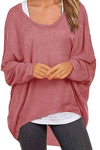 UGET Women's Sweater Casual Oversized Baggy Off-Shoulder Shirts Batwing Sleeve Pullover Shirts Tops Asia L Purple Red - Essential Draped Top