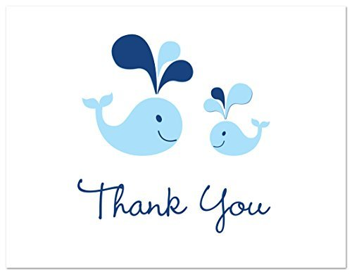 50 Cnt Blue Whale Splash Boy Baby Shower Thank You Cards