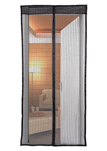 Magnetic Mesh Screen Door for Porch, Patio, Front Doors, French Doors, Windows or Dividing Screen Use - Black (Screen Porch)