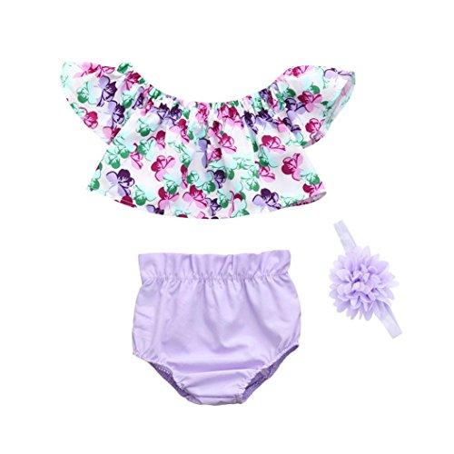 Efaster 3Pcs Newborn Infant Baby Girls Floral Print Off Shoulder Tops Shorts Outfits Set