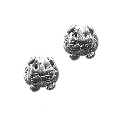 Pewter Guinea Pig Post Earrings by The Magic Zoo – Baby Guinea Pig Stud ()