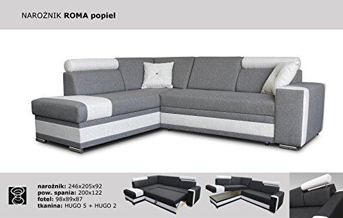 Megan Sofas Esquina sofá Cama Roma- Gris - función de ...