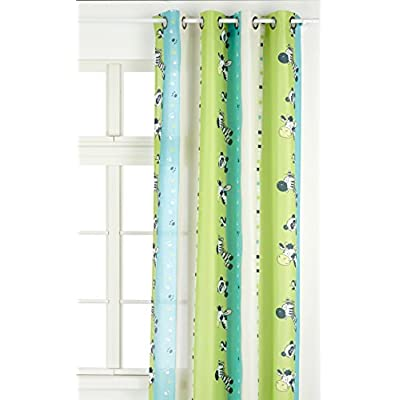 Linder 0206/80/49807/375FR – Tenda con Motivo Zebra per Bambini, munita di Occhielli, 135 x 260 cm, Colore Anice e Turchese