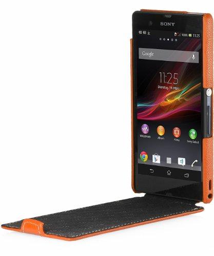 Exclusiva funda en piel Stilgut UltraSlim para Sony Xperia Z versión Old Style naranja