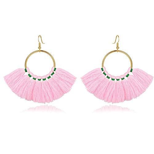 (mecresh Pink Tassel Earrings Bohemian Long Fringe Drop Hoop Dangle Earrings Women Gifts)