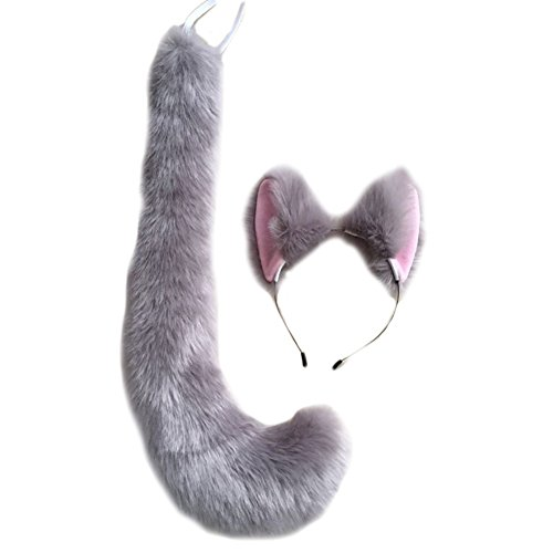Song Party Cosplay Costume Cat Fox Ears Faux Fur Hair Hoop Headband + Tail (Grey Cat Costumes)