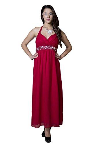 ROBLORA-Cocktail ceremonia vestido de noche vestido de dama de honor de la boda de bustier largo Eliza02 Rojo