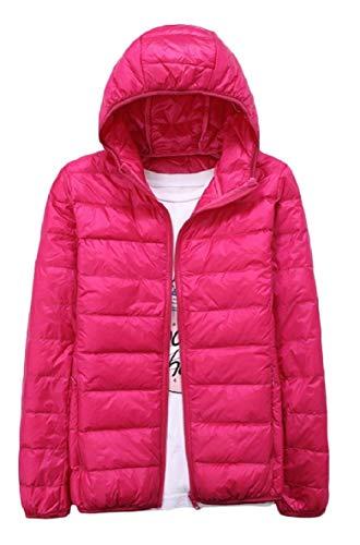 Puffer Cappotto Xinheo Zip Mens Tinta Cappuccio Outwear Leggero Giù Rosa Ultra Rossa Con Unita up 7BtqwqT