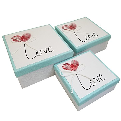 Ikee Design Blue Nesting Gift Square Boxes with Lids 3 Assorted Sizes Ready for Gift Giving (Stacking Gift)