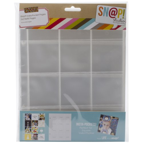 (Simple Stories Snatp! Insta Pocket Pages for 6 by 8-Inch Binders with 2 by 2-Inch Pockets, 10-Pack)
