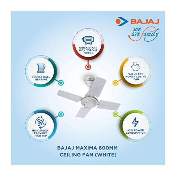 Bajaj Maxima 600mm Ceiling Fan (White) 4