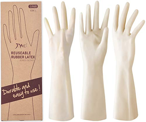 JOYECO Rubber Gloves Reusable Household Cleaning Gloves for Kitchen Dishwashing 3 Pairs, Large