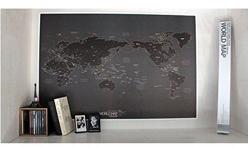 World Map Poster Ver. Black with 12 Color Pencils (Travelers World Map)
