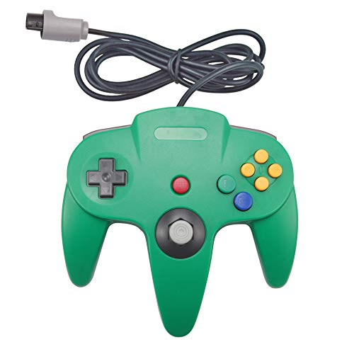 Joxde 1 Pack Joystick Classic Wired Controller Compatible N64 Gamepad Console (Green)