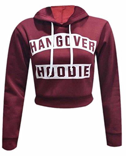 XTX Women's Casual Hangover Print Drawst Short Pullover Hoodies Wine (Clara Red Wine)