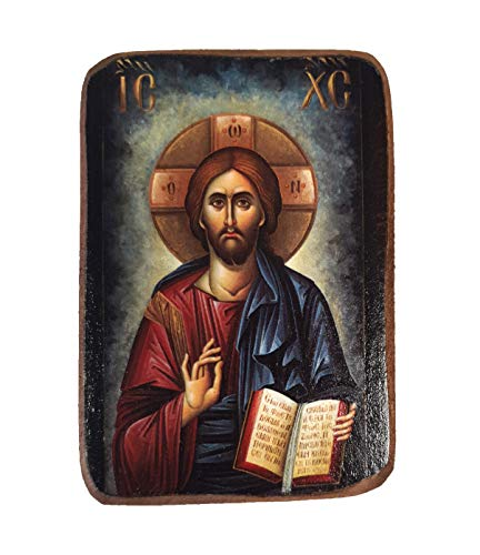 Wooden Greek Christian Orthodox Wood Icon of Jesus Christ / A02