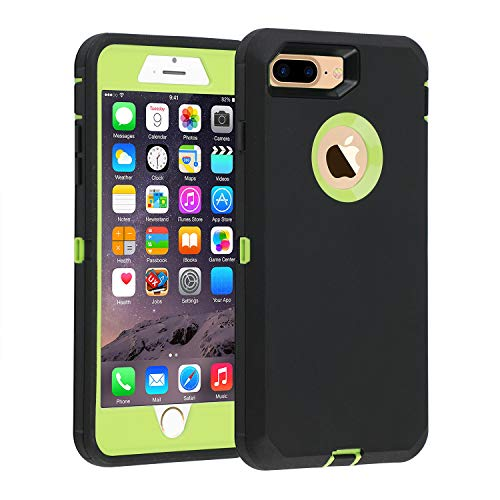 iPhone 7+/8+ Case, [Heavy Duty] Defender Armor 3 in 1 Built-in Screen Protector Rugged Cover Dust-Proof Shockproof Drop-Proof Scratch-Resistant Shell for Apple iPhone 7 Plus/8 Plus 5.5-Black/Green