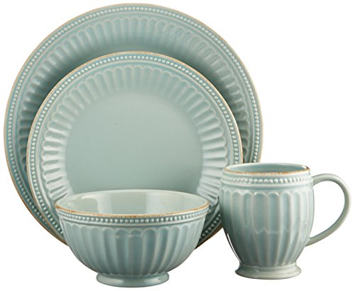Lenox French Perle Groove 4 Piece Place Setting, Ice Blue (Setting Piece Place Blue 4)