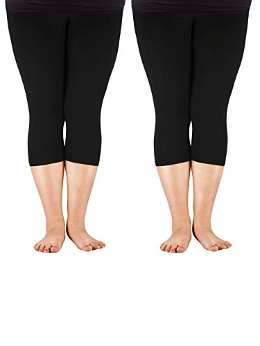 - Zando Women's Tights Seamless Capri 3/4 Length Soft Stretchy Plus Size Crop Smooth Solid Footless Basic Thin Leggings C 2 Pairs Black US 2X Plus-US 4X Plus (Tag Size 4XL)