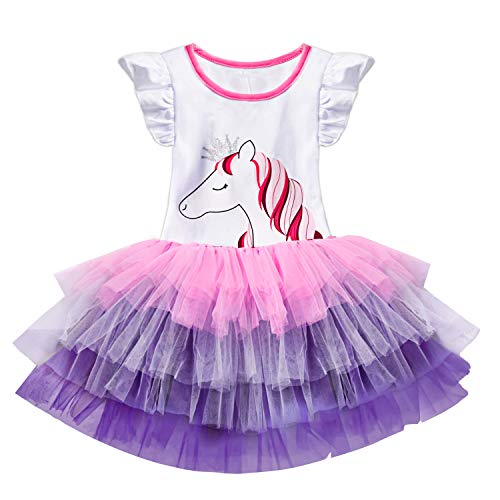 (TTYAOVO Baby Girls' Unicorn Sleeveless Ruffle Tops with Layered Rainbow Tutu Skirts Size 3-4)