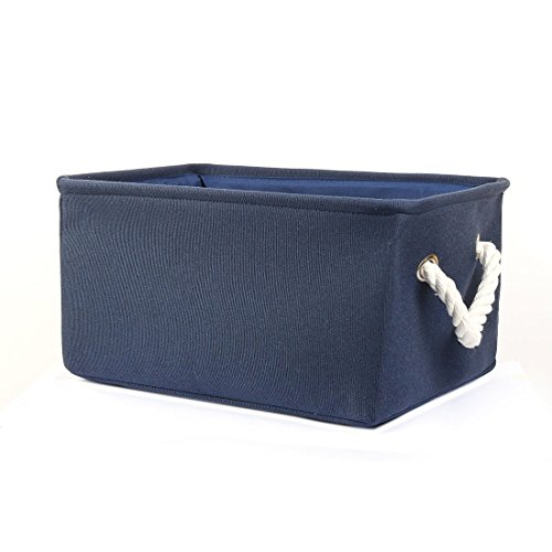 uxcell Collapsible Storage Basket Storage Bin, Foldable Laundry Basket Bin for Clothes Toys Storage, Home Organizer for Bedroom Office Closet or Shelves (Dark Blue,M) (With Shelf Baskets Toy)