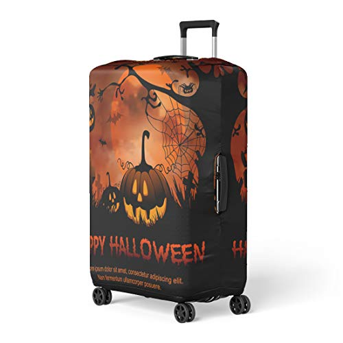 Pinbeam Luggage Cover Orange Trick Halloween Night Pumpkin and Full Moon Travel Suitcase Cover Protector Baggage Case Fits 18-22 -