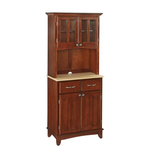 Home Styles 5001-0071-72 5001 Series with Natural Wood Top Buffet Server and Hutch, Medium Cherry, (Kitchen Natural Wood Hutch)