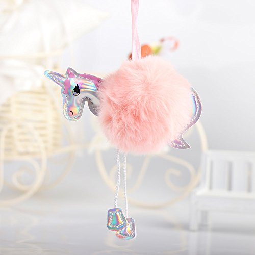 OurWarm Unicorn Party Favors, 10 Pcs Cute Pompom Unicorn Keychains Key Ring Decoration Birthday Party Favor Supplies Novelty Gift for Kids