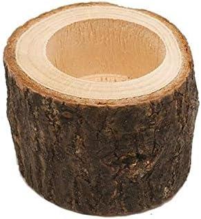 QUAN Votive Candle Holders 新しい木製工芸装飾木製工芸装飾クリエイティブ樹皮ウッドパイルキャンドルホルダーホームデコレーション、キャンドルがなければ、スタイル:ミディアム