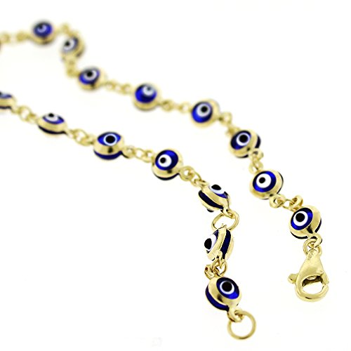14k Yellow Gold Childrens 4mm Dark Blue Evil Eye Bead Good Luck Charm Bracelet Chain 6'' by In Style Designz