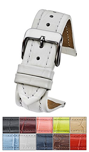 Genuine Padded Leather Watch Band in Alligator Grain Finish - White -20mm