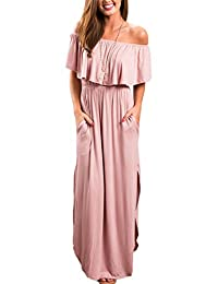Women's Elegant Off Shoulder Slit Boho Maxi Dress Whith Pocket