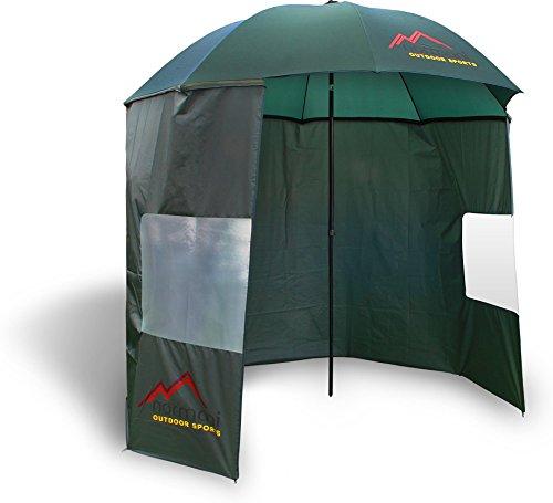 Outdoor Angelschirm Schirmzelt Komplett-Set aus Nylon mit 2 Fenstern & abtrennbarer Schirmwand