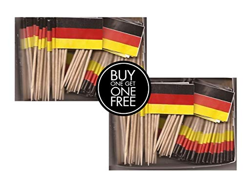 2 Boxes Mini Germany Toothpick Flags, BOGO Buy 1 Box of 100 and Get Another Box Free, Total 200 Small Mini German Flag Cupcake Toothpicks or Tiny Cocktail Sticks & - German Picks Flag