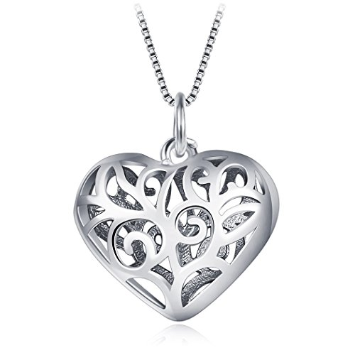 Sterling Silver Hollow Heart Pendant Necklace