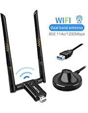 1200Mbps WiFi Adapter, Dual Band USB Wifi Dongle (5.8G/867Mbps+2.4G/300Mbps) Network Adapter with USB 3.0 Cradle and Extension Cable for PC Desktop Laptop Support Windows 10/8/7 MacOS