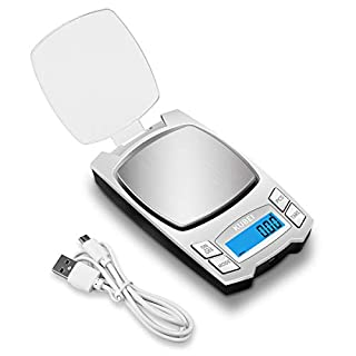 KUBEI Silver Rechargeable Digital Pocket Scale 500g/0.01g, Mini Electronic Jewelry Scale, Portable Food Scale Jewelry Gram Scale, Small Milligram Scale with LCD Display