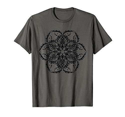 Black Lotus Flower Mandala Peace Hippie Tattoo T-Shirt