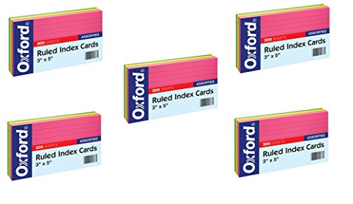 "Oxford Neon Index Cards, 3"" x 5"", Ruled, Assorted Colors, 300 Per Pack, 5 Pack, 1500 Cards Total (81300EE)"