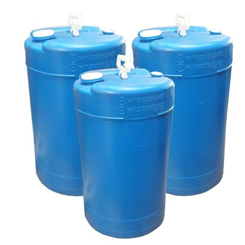 15 Gallon Closed-Head UN Rated Poly Drum with Screw Cap - Blue Drum (Pack of 3) by Air Sea Containers