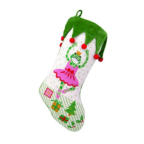 Peking Handicraft 31KR197MC Ballerina Frog Needlepoint Stocking, 11 x 18