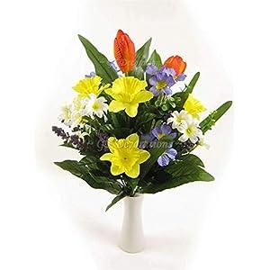 MARJON FlowersArtificial Tulip Daffodil Primrose Mixed Spring Floral Arrangement 48