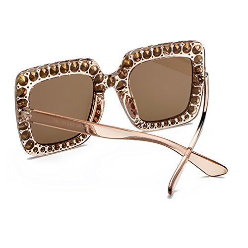 Lunettes Carré Eyewear C7 Design soleil Classique UV400 de Bmeigo cadre Sparkling Stass Femmes Grande Lunette Élégant de q04PXBw
