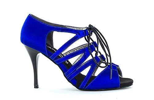 Scarpa da ballo Limited Edition in raso blu cobalto con lacci davanti e stringhe lunghe tacco 8,5 cm