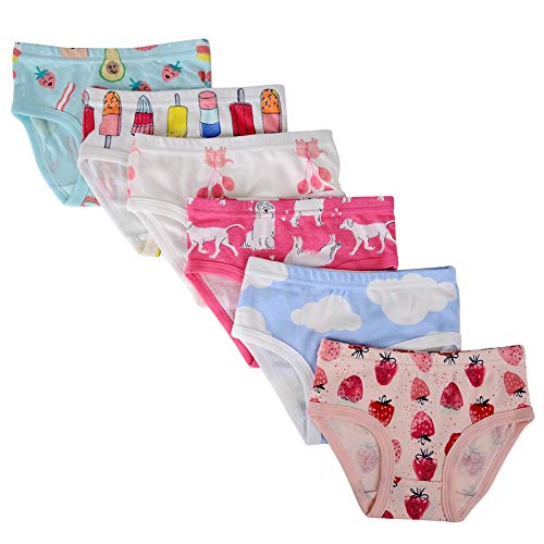 Closecret Kids Series Baby Soft Cotton Panties Little Girls' Assorted Briefs(Pack of 6) (4-5 Years, Style15)